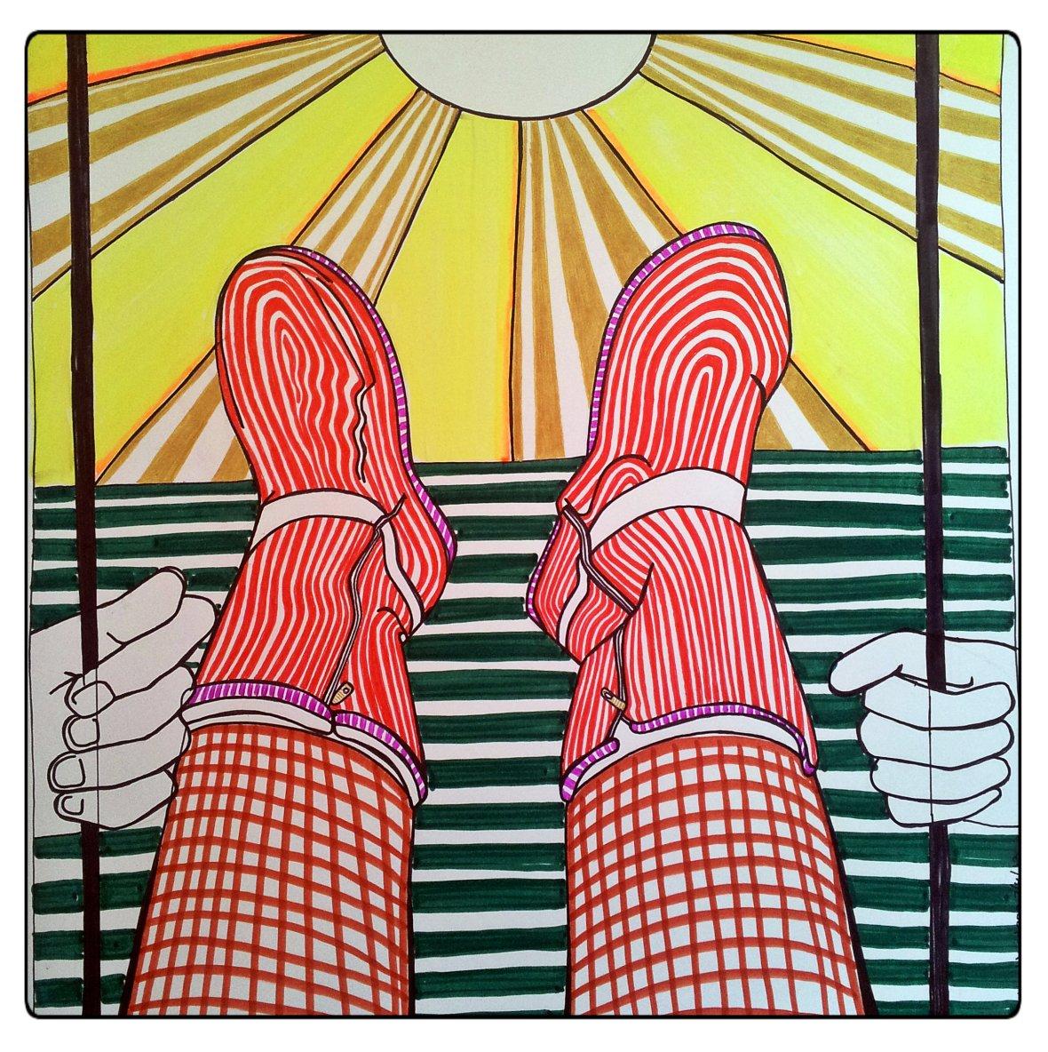 Wat maak je voor iemand die een blog heeft waarop ze elke dag een foto van haar voeten maakt? Heel simpel, Voetjes. Mirjam, deze is voor jou!