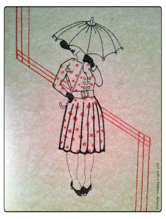 Deze tekening is voor Gerda, zij vond laatst op zolder heel veel oude parapluutjes, vandaar dan ook nu een chique dametje met plu voor haar!
