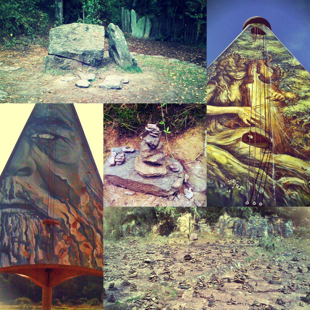 """Collage van foto's gemaakt in Bretagne bij de """"Tombe van Merlijn"""""""