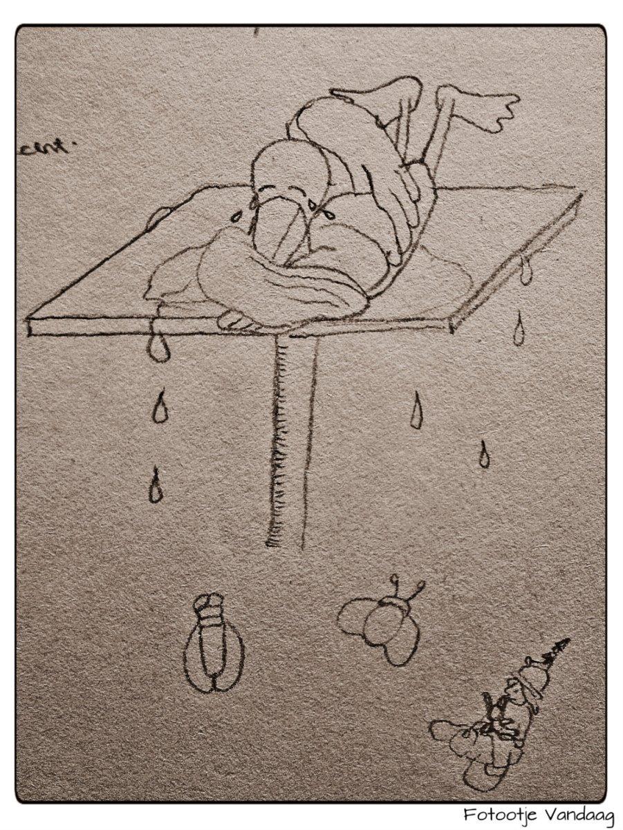 Schetsje voor een van de tekeningen van de kabouterburcht.