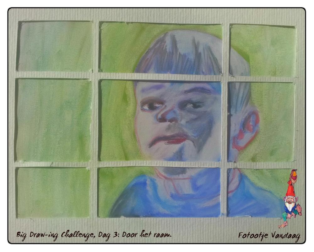 Dag 3, Door het raam, pastelpotlood.
