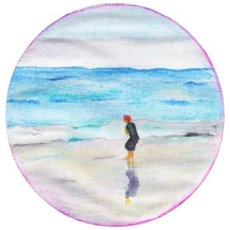 jongen op het strand, aquarelpotlood.