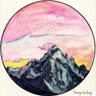 Berg, getekend met potlood en pen.
