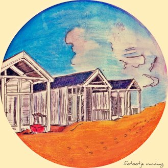 Strandhuisjes in Katwijk, getekend door Grietje