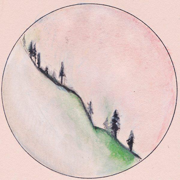 Bergkam (Agenda tekening met potlood, 4x4cm)