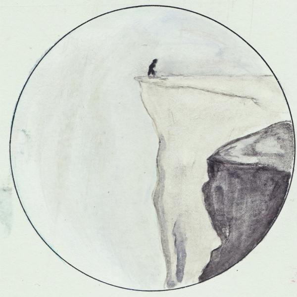 Klif (agenda tekening met potlood, 4x4 cm)