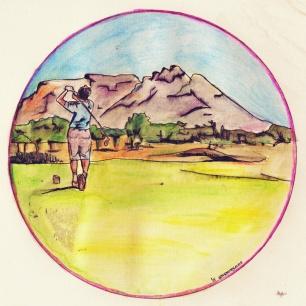 Golfer, getekend met potlood.