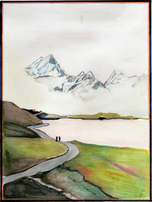 Wandelpad met bergen in de mist, getekend met potlood.