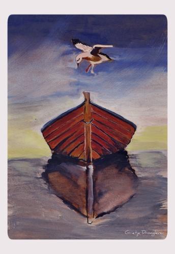 meeuw boven boot